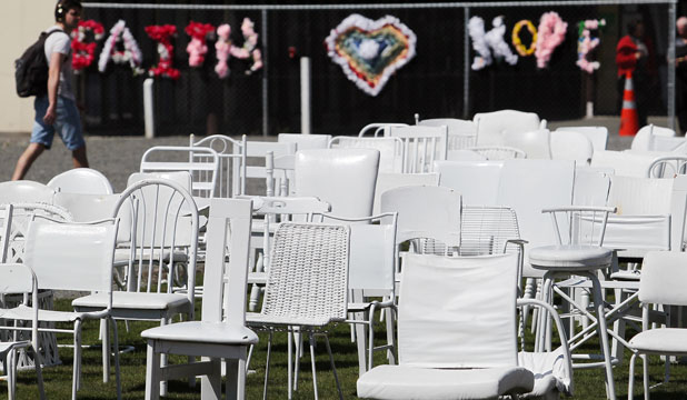 The 185 chairs representing victims of the February, 2011, earthquake have been repeatedly damaged by vandals, the memorials creator says.