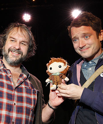 AN UNEXPECTED JOURNEY: Film-maker Sir Peter Jackson and actor Elijah Wood.
