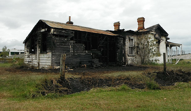 HISTORY TURNED TO ASHES: The burnt out Guy Homestead.