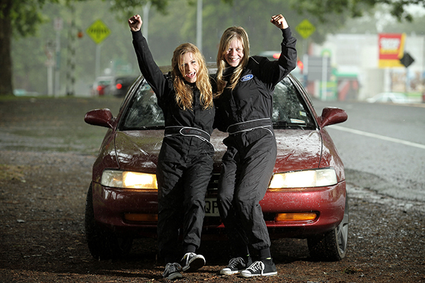TOP DRIVERS: The test drive champions, Emily Blakey (L) and Chelcie Kuriger, both 19, wanted to prove that blondes can drive.