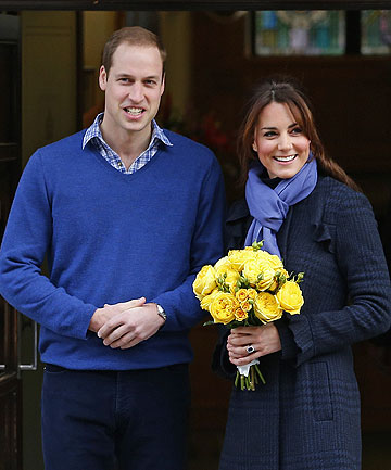 FEELING BETTER, THANK YOU: Prince William leaves the King Edward VII hospital with his wife Catherine, Duchess of Cambridge.