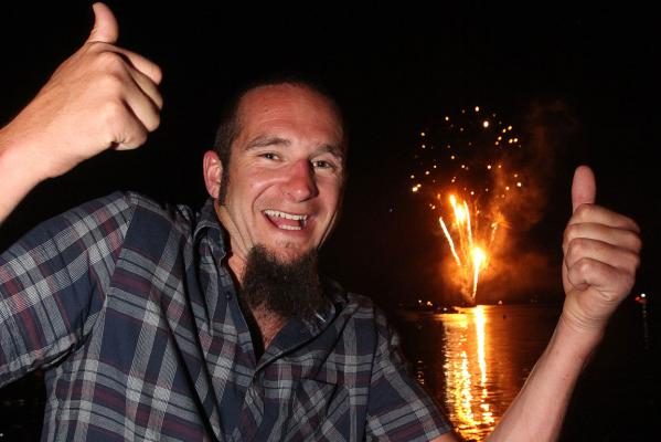 Chris Sluys celebrates New Years Eve celebration in Picton.