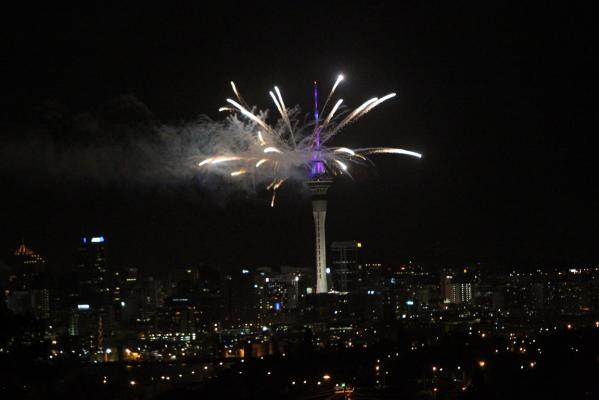 New Year fireworks celebrations photographed from the North Shore suburb of Hillcrest.