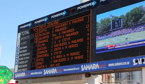 The scoreboard at Newlands clearly shows the sorry story of New Zealand's first innings in the first cricket test against South Africa.