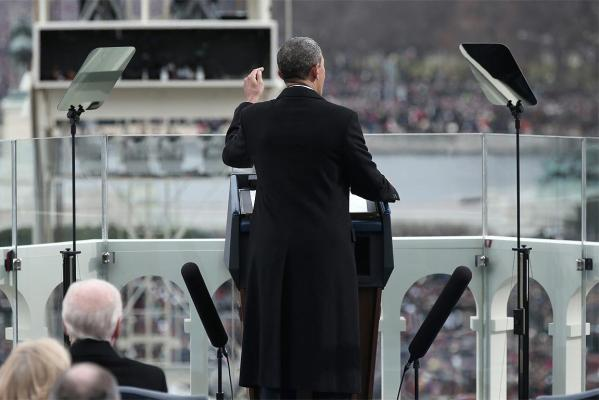 Barack Obama delivers his inaugural address during the presidential inauguration on the West Front of the US Capitol.