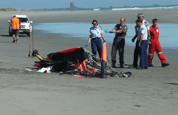 CRASH SCENE: Police at the scene of a microlight crash near Westport today.