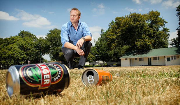 Kane Steward plays in-house cricket at Steele Park but is concerned at the number of badly behaved drunks at the park.