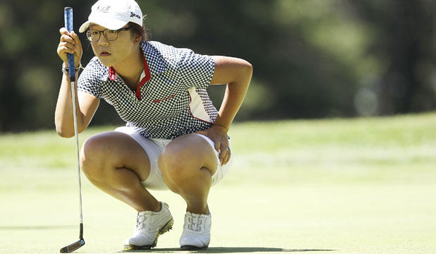 EYES ON THE PRIZE: Lydia Ko lines up a putt on the second hole on day four of the Australian Open.