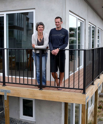 Verena and Jim Young admire the view from their eco-friendly house in Cashmere