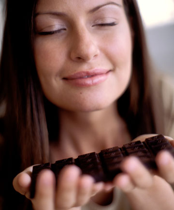 calming woman down with chocolate