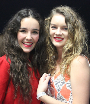 Solo/duo winners Livvy Nott and Anna Robinson at the Nelson regional finals of Smokefree Rockquest.