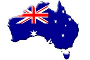 Australian flag on a map of Australia.