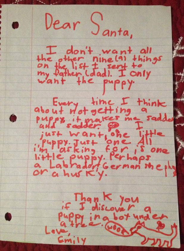 girl tries to guilt santa into getting her a puppy stuff