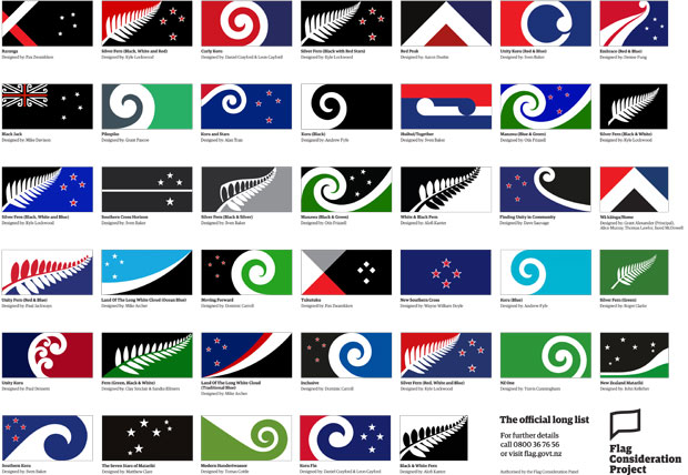 Image of the New Zealand flag design options.