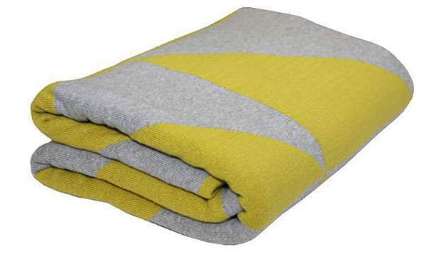 Triangles in Grey & Yellow Knitted Throw