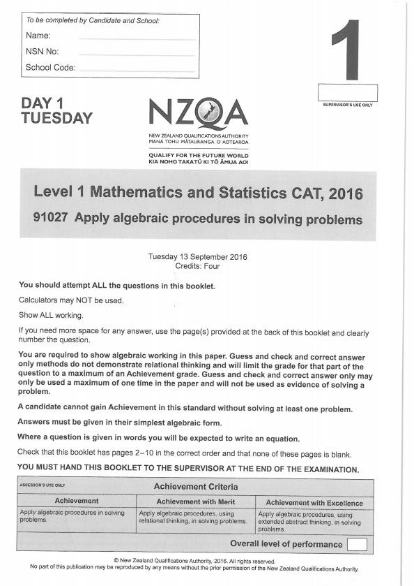 NZQA Level 1 maths exams published in entirety following calls for ...