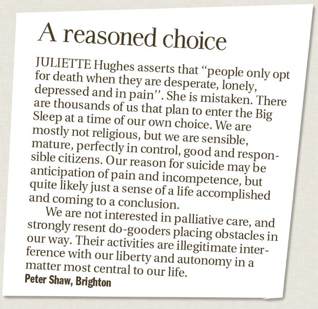 letter to the editor about euthanasia