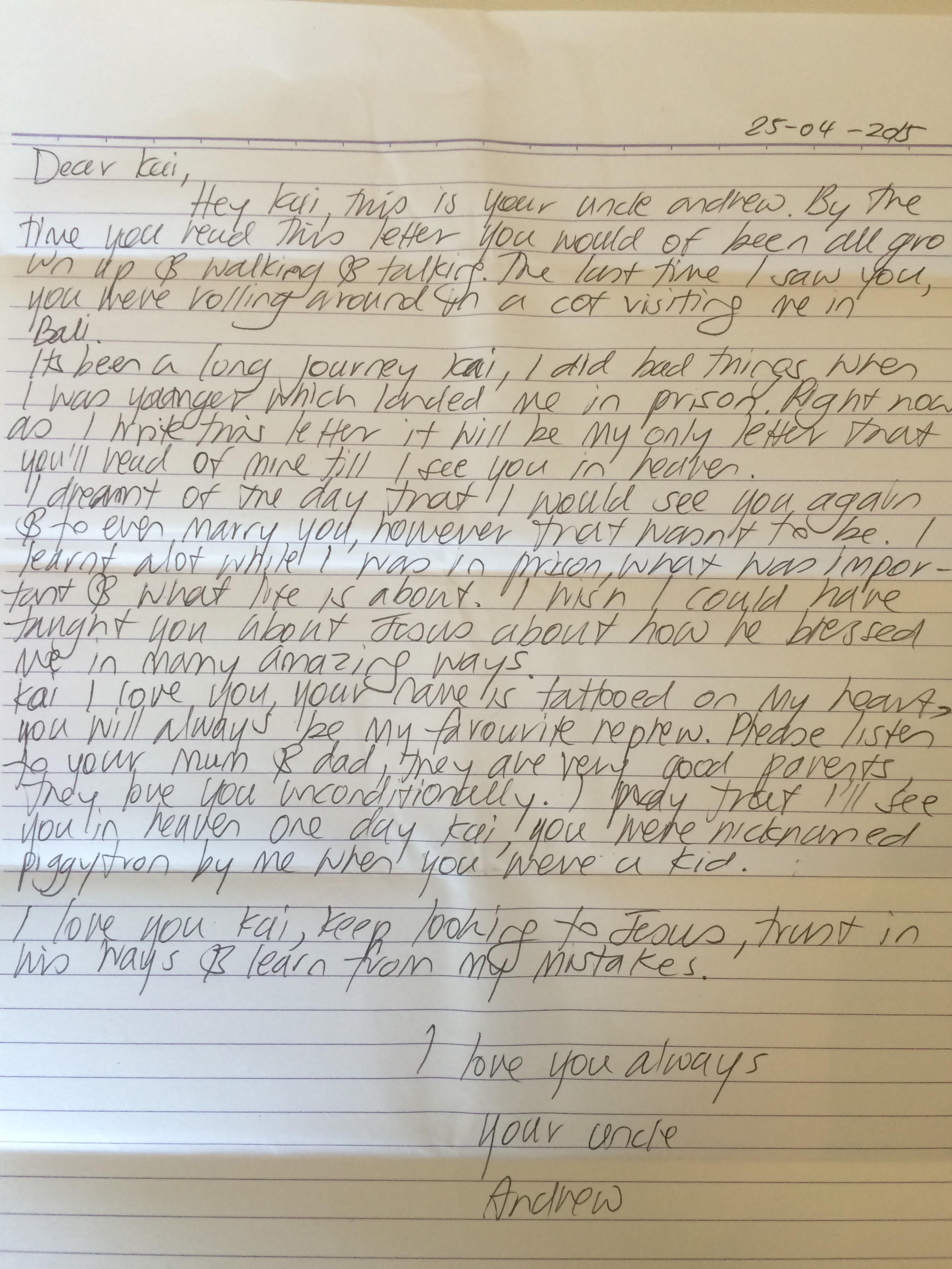 Bali 9 Executions Andrew Chans Letter To The Nephew He Adored