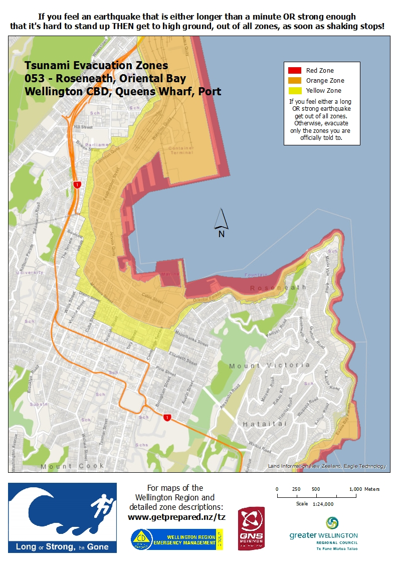 Wellington tsunami warning maps
