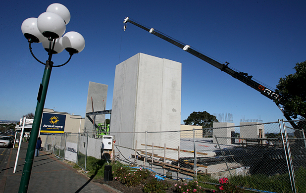 UP AND AWAY: The first walls of the Birkenhead library are in place.