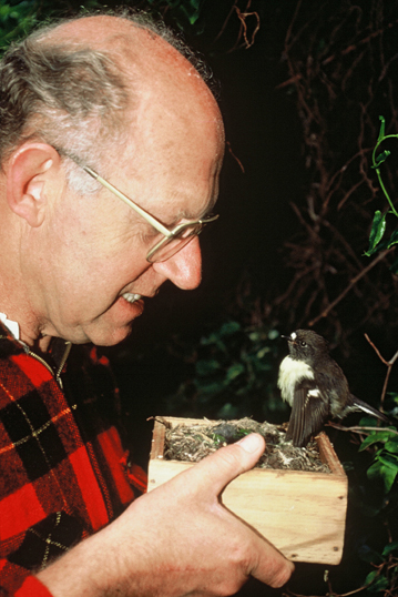 Don Merton and Pippin the tomtit