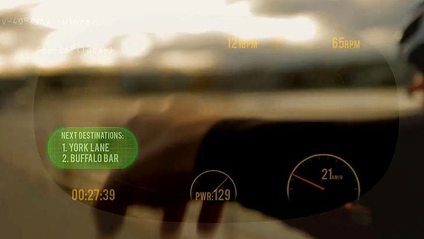 A heads-up display for cyclists can be used through the See Through Glasses.